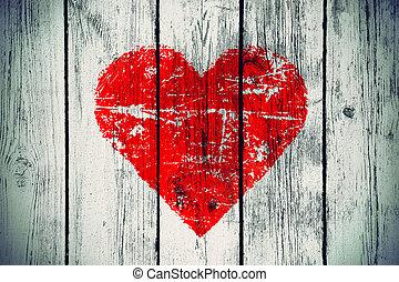 houten muur, symbool, liefde, oud