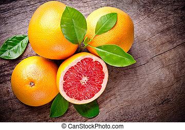 houten, oogsten, grapefruit, achtergrond, vers