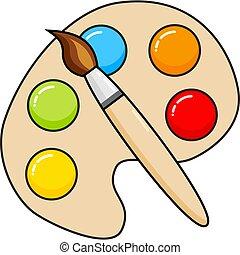 houten, palet, vector, borstel, blobs, kunst, verf