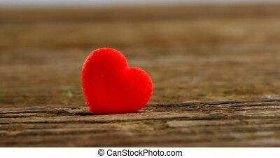 houten plank, 4k, hart, opstiksel, rood