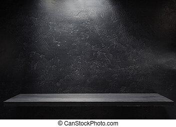 houten, plank, muur, black