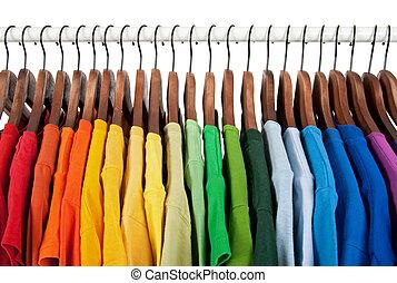 houten, regenboog, kleerhangers, kleuren