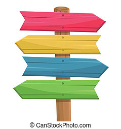 houten, route, vector, meldingsbord