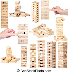 houten, toren stremmingen, spel