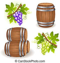 houten, vaten, druif