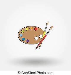 houten, verven, palet, kunst, brushes.