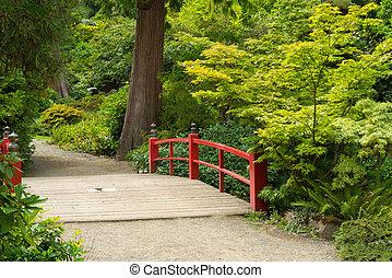 houten, voet, japanner, brug