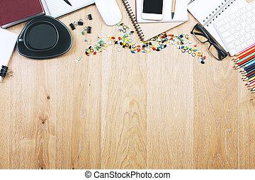 houten, voorwerpen, bovenzijde, tafel, bruine