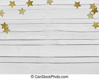 houten, vorm, jaar, ster, nieuw, glittering, confetti, lege, achtergrond., kerstmis, scène, space., gouden, witte , mockup, feestje