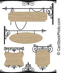 houten, wrought, set, ijzer, ouderwetse , tekens & borden