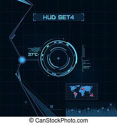 hud, gui, gebruiker, interface., set., futuristisch