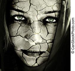 huid, gebarsten, vrouw confronteren