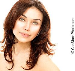 huid, perfect, jonge, vrijstaand, vrouwlijk, verticaal, white., mooi