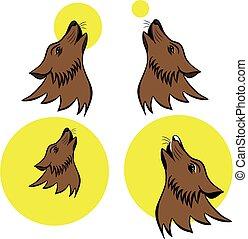 huilend, symbool, wolf