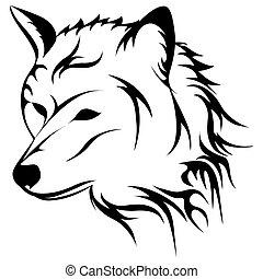 huilend, vector, wolf, illustratie