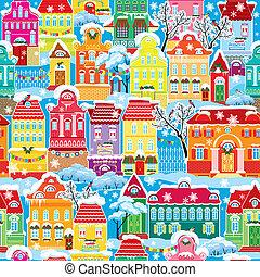 huisen, model, kleurrijke, eindeloos, decoratief, seamless, winter, time., nieuw, feestdagen, kerstmis, stad, achtergrond., jaar