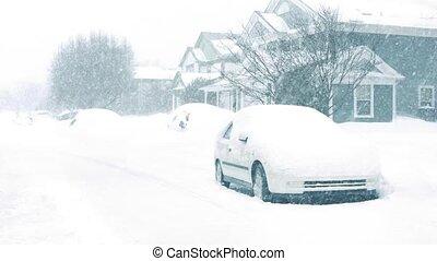 huisen, snowstorm, auto's