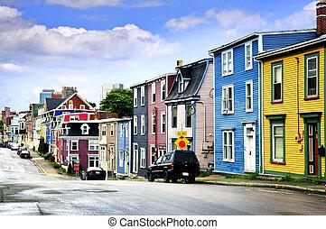 huisen, straat., kleurrijke, john's