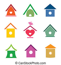 huisen, vector, groep, vogel
