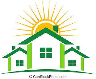 huisen, zonnig, logo