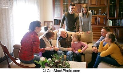 huisgenoten, samen, tijd, uitgeven, levend, groot, kamer