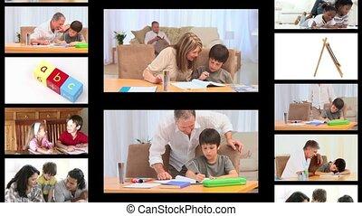 huiswerk, montage, families
