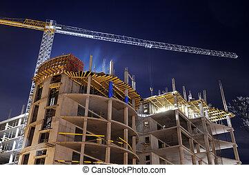 huizenbouw, bouwterrein, nacht