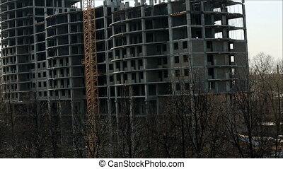 huizenbouw, flat, aanzicht, onder