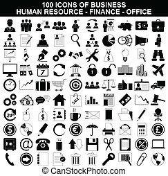 hulpbron, set, financiën, de pictogrammen van het bureau, zakelijk, menselijk