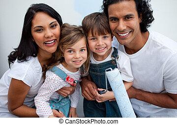 hun, schilderij, het glimlachen, ouders, kinderen, kamer