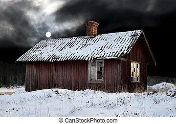 hut, avond, oud, winter