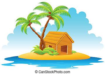 hut, eiland