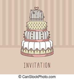 huwelijk uitnodiging, cake.