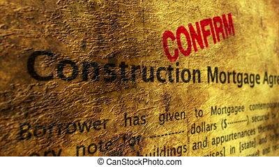 hypotheek, bouwsector, overeenkomst, bevestigen