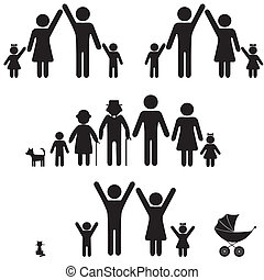 icon., mensen, silhouette, gezin