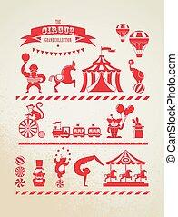 iconen, achtergrond, fair, plezier, circus, verzameling, vector, reusachtig, ouderwetse , carnaval