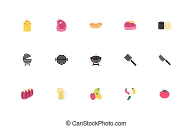 iconen, bbq, bundel, set