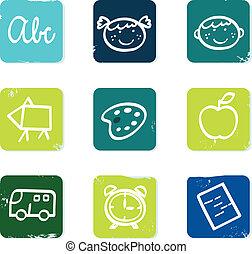 iconen, communie, doodle, vrijstaand, set, back, &, school, witte