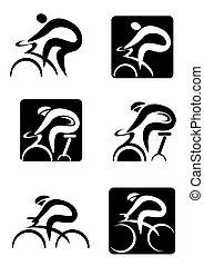 iconen, cycling, het spinnen