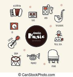 iconen, doodle, set., hand, muziek, getrokken
