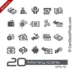 iconen, geld, grondbeginselen, //