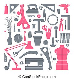 iconen, gereedschap, set, naaiwerk, hobby