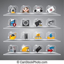 iconen, glas, internet, website, knoop