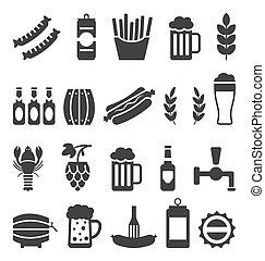 iconen, hapjes, vrijstaand, bier, zwarte achtergrond, witte