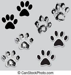iconen, hardloop wedstrijd, poot, kat, voetjes, dierlijke druk, shadow.