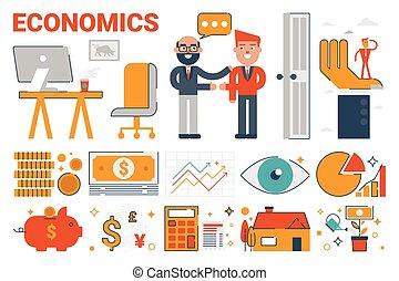 iconen, infographic, communie, economie