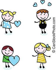 iconen, liefde, doodle, retro, vrijstaand, geitjes, steek, witte