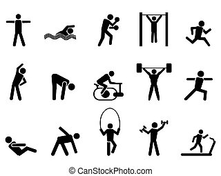 iconen, mensen, black , set, fitness