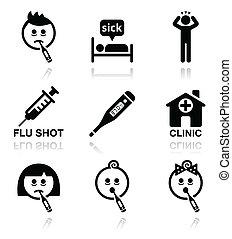 iconen, mensen, koude, ziek, griep, vector