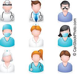 iconen, mensen, -, medisch